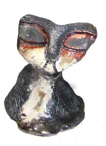 "Hello Raku Kitty sits 4"" x 4"" x 4"" Black, white, and copper textured body Weighs 9.4 ozs  A Must have in the Herdew collection!"
