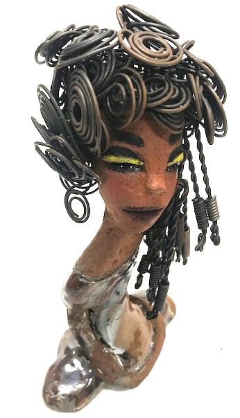 "Meet Latasha!      Latasha stands 8"" x 5"" x 3"" and weighs 1.11 lbs.     Latasha has an awesome honey brown complexion.     Her dress has a shimmering copper metallic glaze.     Latasha's Herdew to over 2 hours to style.     Her long loving arms are at her side.  Latasha is all made up and ready to Home. Free Shipping!"
