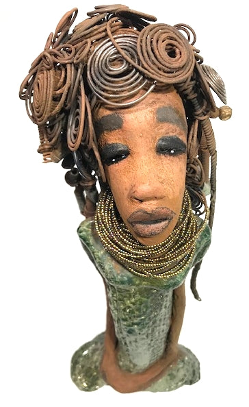 "Meet Mildred!      Mildred stand 16"" x 6"" x 3.5"" and weighs 4.11 lbs.     She has a lovely honey brown complexion.     Mildred has a head full of wire hair!     It took over 3 hours to twist, curl, and braid her 16 gauge wire hair.     Mildred dress is textured with an alligator green metallic patina.     She wears a necklace with a heavy dose of seed beads.     Her long loving arms rest at her side.     Mildred looks like she's got a question.  Is there a space in your place for Mildred? Free Shipping!"