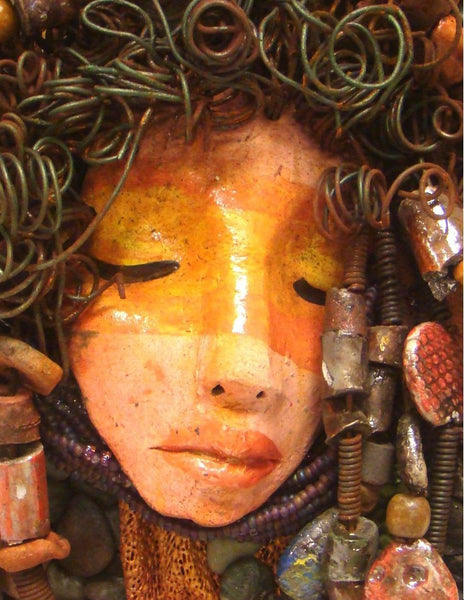 "Petra is mounted on a 9""x 12"" painted canvas. I spent about 4 hours or more just fixing Petra's hair and attaching beads!      Petra has over 40 feet of 16 gauge wire for hair and over 50 raku beads.     Petra has an amber and brown crackle face with rust brown  lips.     Petra is ready to be hung!    Free Shipping!"
