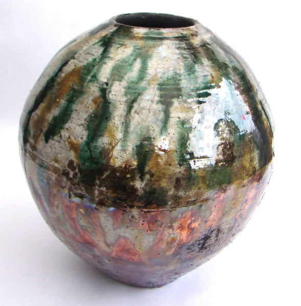 Multi Colored Raku Vase