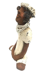 "Meet Tina! Tina stands  8"" x 6"" x 3"" and weighs 1.08 lbs Tina has a lovely honey brown complexion. Her dress has a white crackle glaze. Tina has a strand of white beads around her neck with compliments her hat. Her long loving arms are at her side. Tina looks with anticipation of finding a new home Free Shipping!"