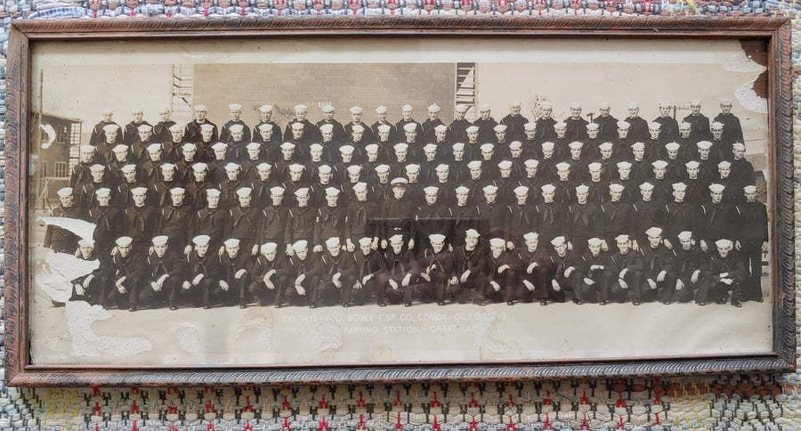 Panoramic photo dated 1943 US Naval training station Great Lakes Illinois