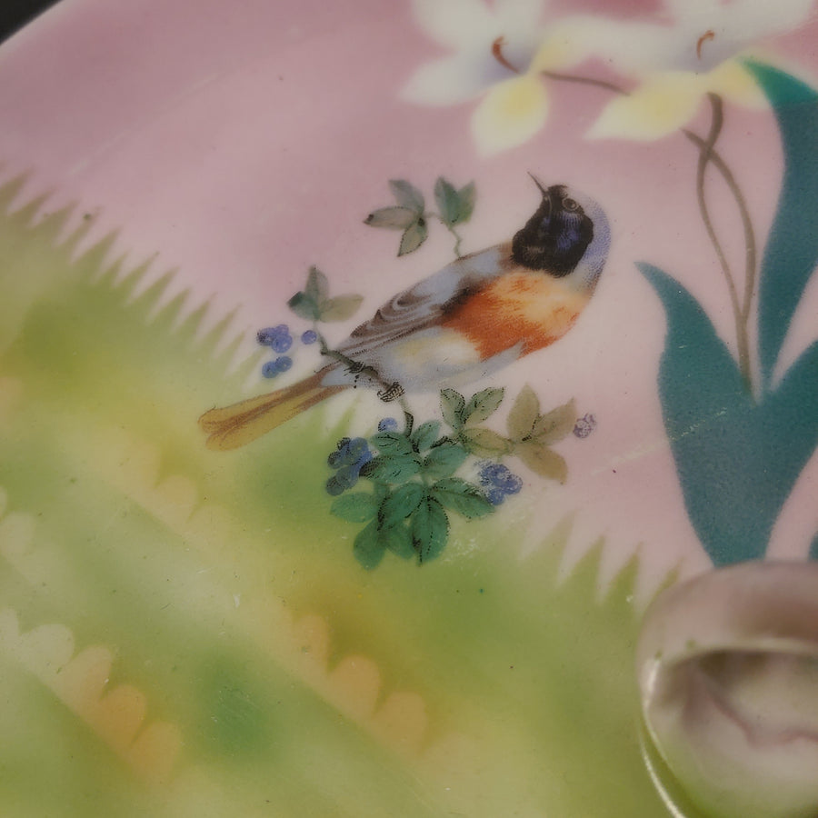 Nappy, dish, hand.painted robin