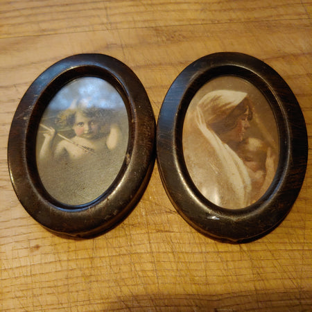 Ohio art, antique cupid and mother prints double frame