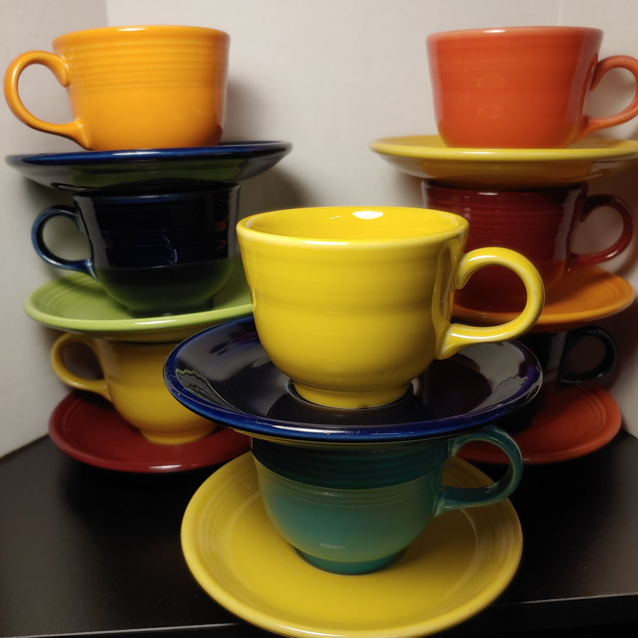 8 fiesta cups and saucers.