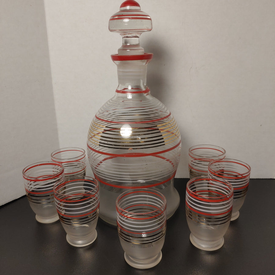 Decanter, frosted striped glass with 7 cordials