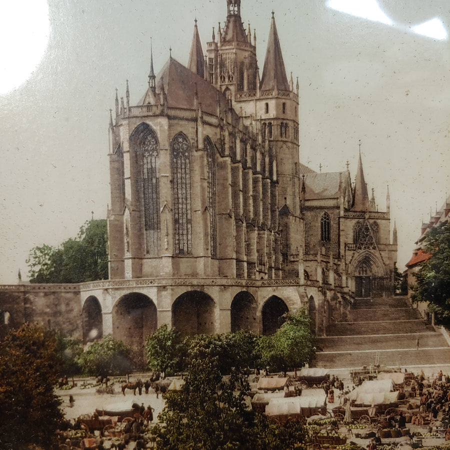 Cathedral and other buildings. Photo. Old frame. Label on back unknown