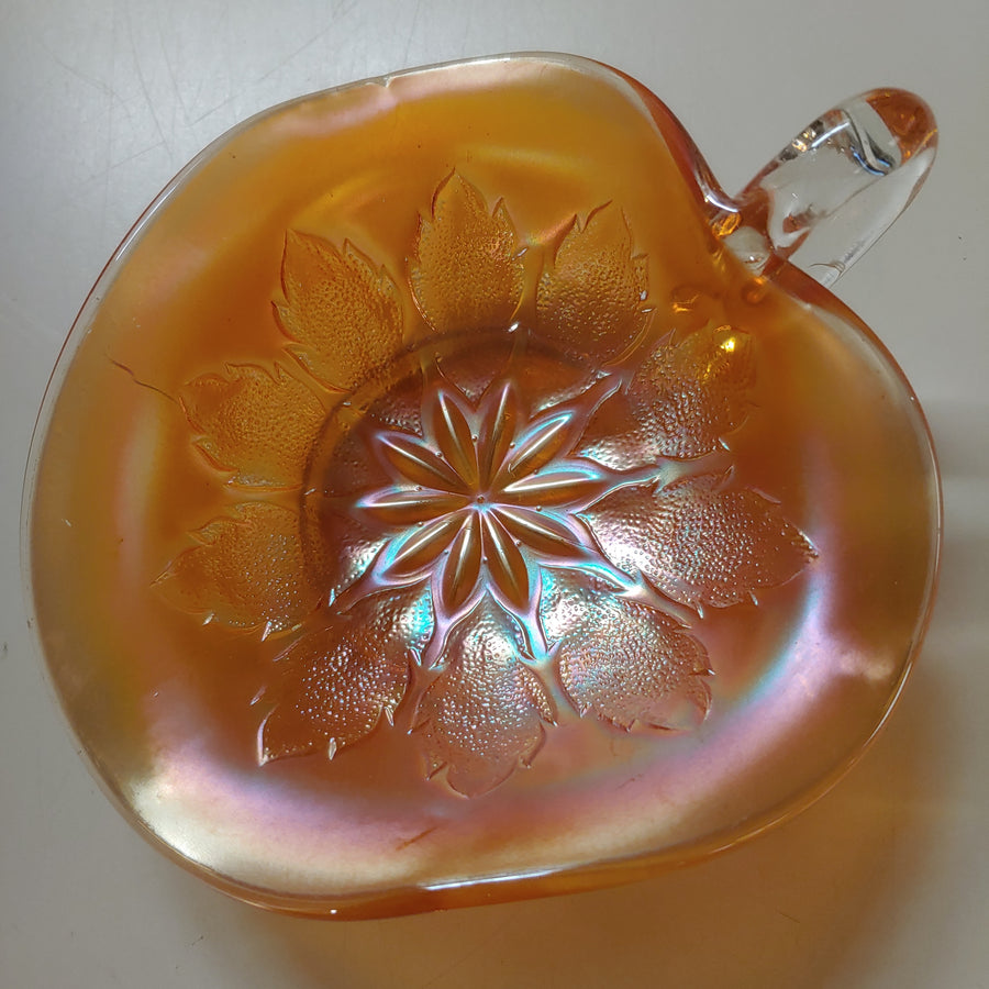 Marigold Carnival Tri shape bowl with clear handle