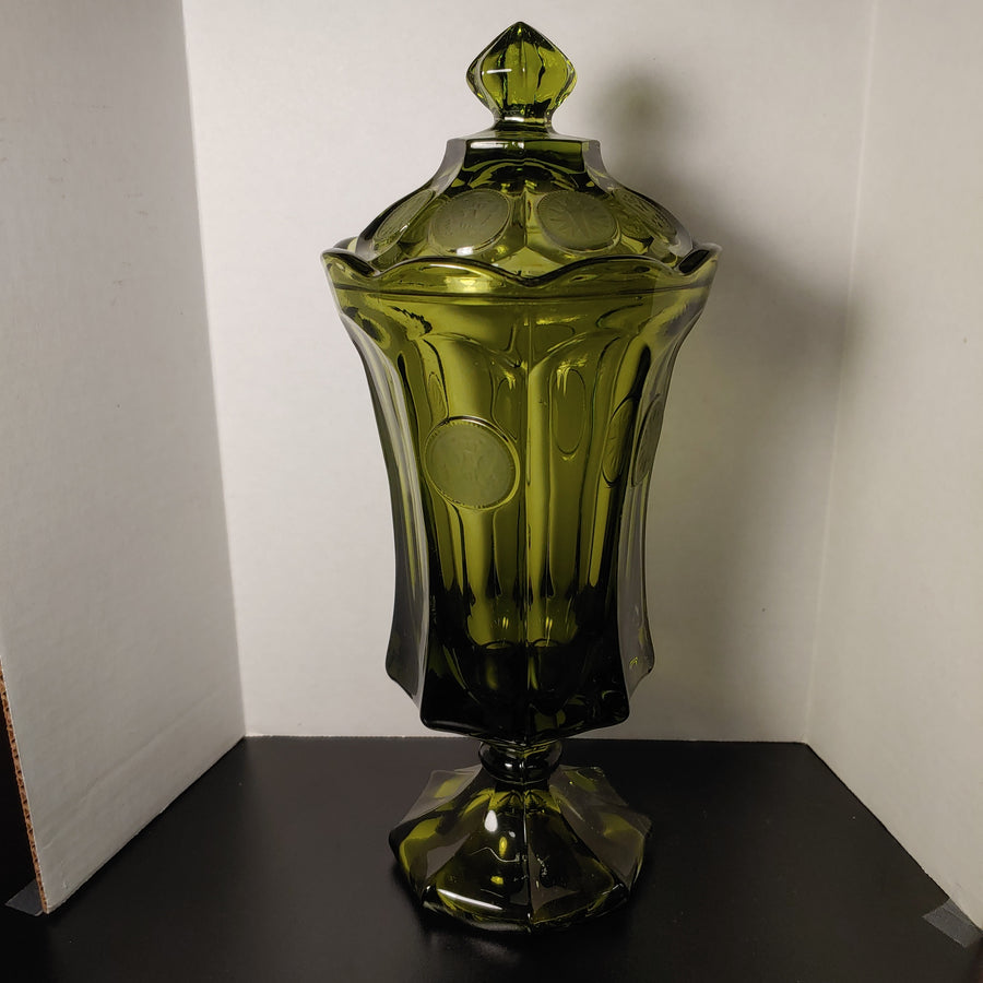 Fostoria Glass, tall lidded Vase, olive green