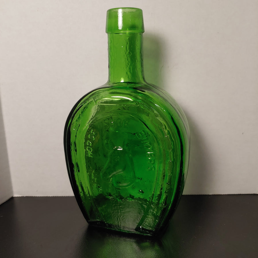Wheaton bottle, horse, green