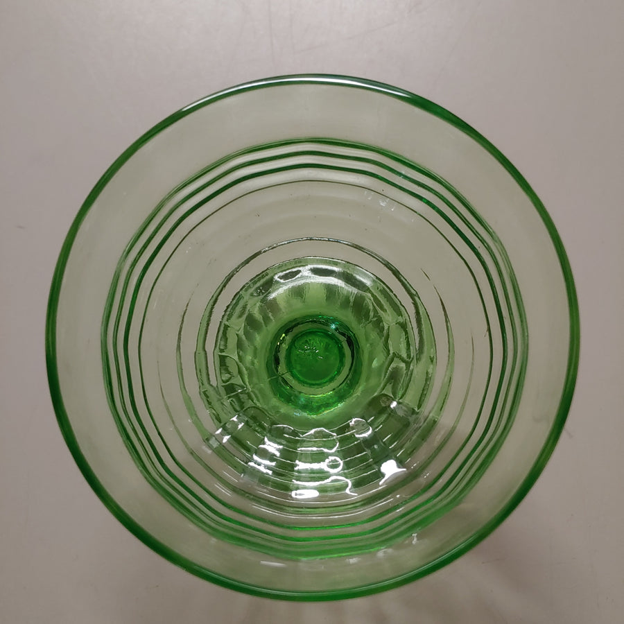Green depression glass sherbets, 7