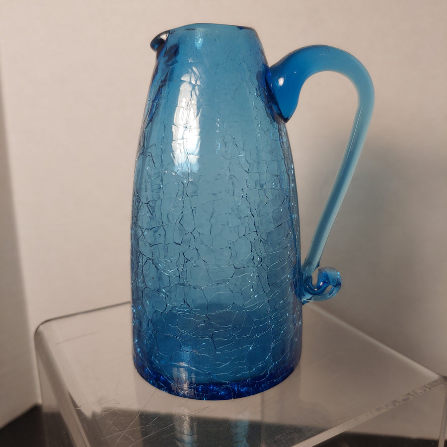 Crackle glass, blue, applied handle