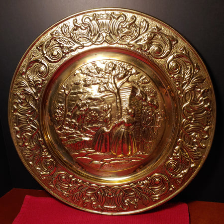 Vintage brass wall hanging, embossed platter