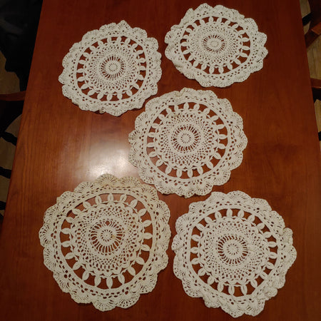 "12""round, crocheted doilies, 5"
