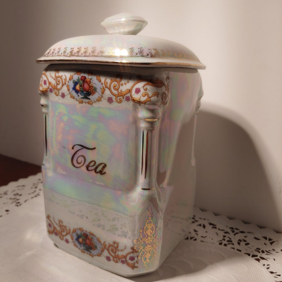 Lustre and transfer tea jar, Czechoslovakia, Victoria, antique