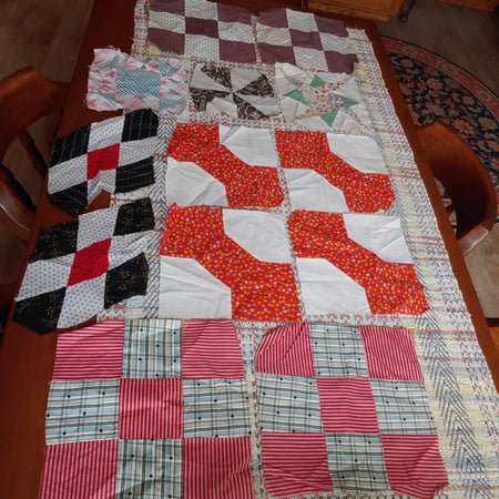 13 quilt blocks, machine sewn