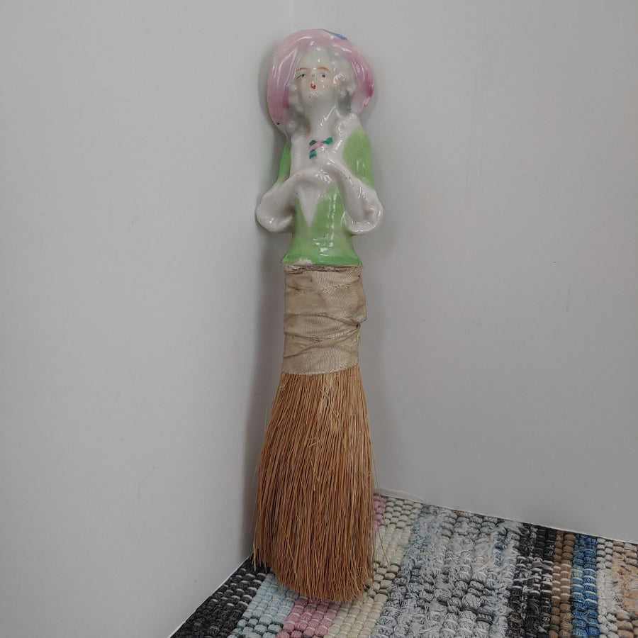 Half Doll brush doll , antique