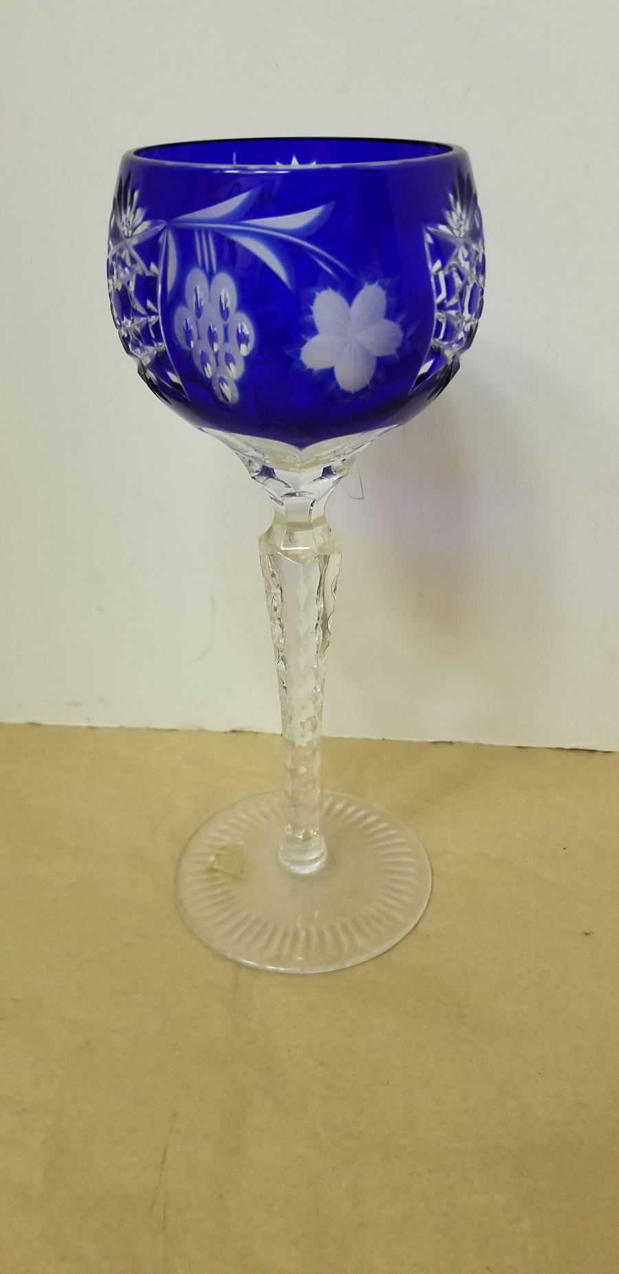 Bohemian cobalt and clear wine glass marked hungary