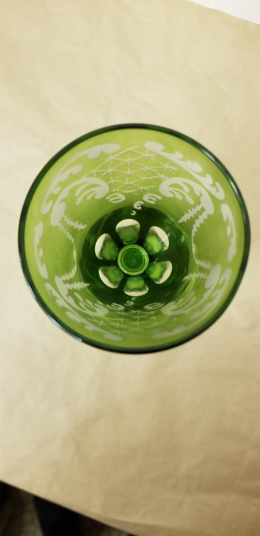 Czechoslovakia Bohemian green to clear wine glass