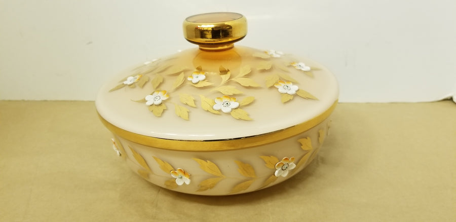 Bohemian White to Amber cased glass covered dish