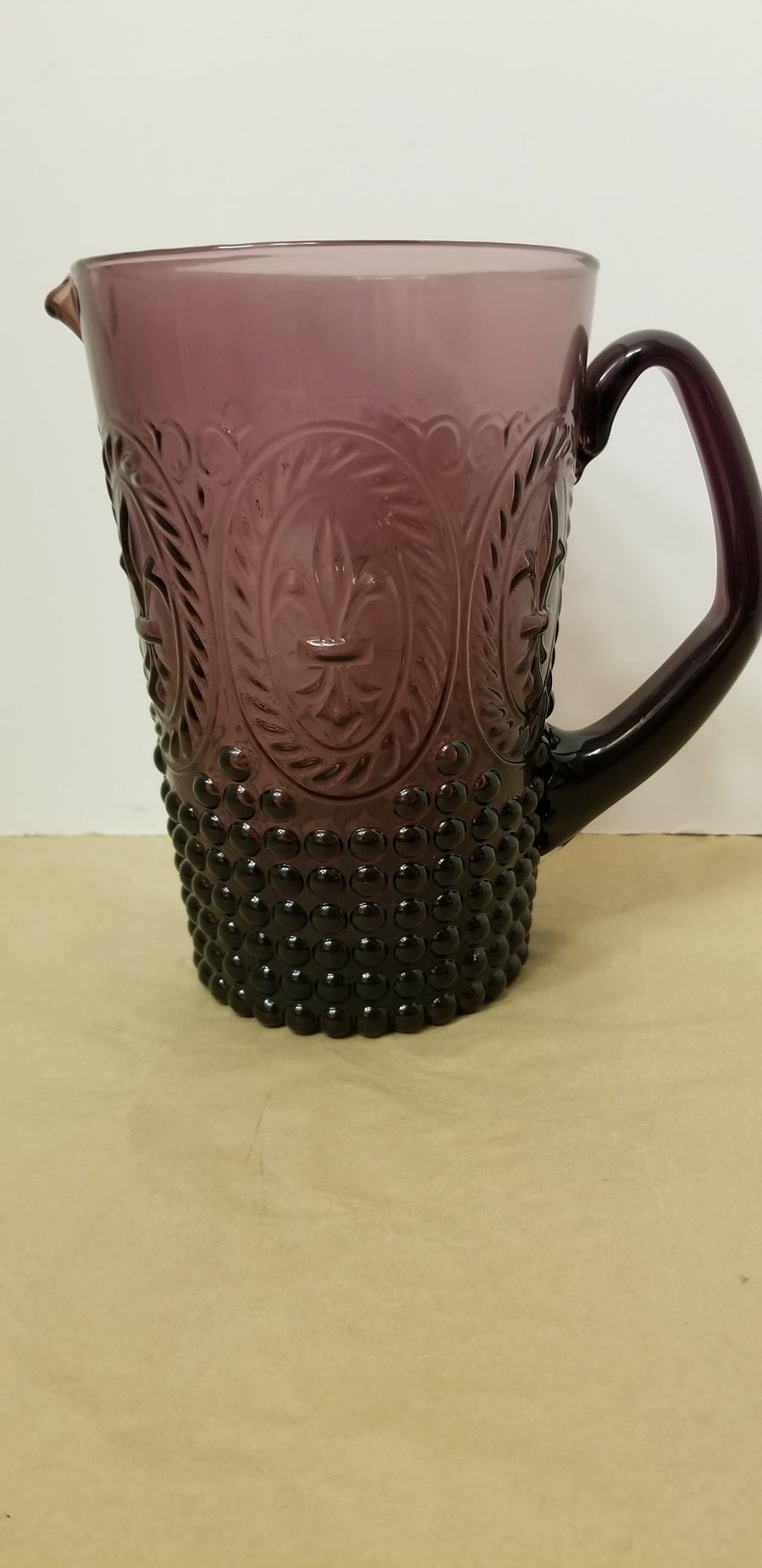 Purple pressed glass, antique pitcher