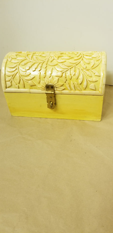 Box, Wood box, plastic carved lid, india