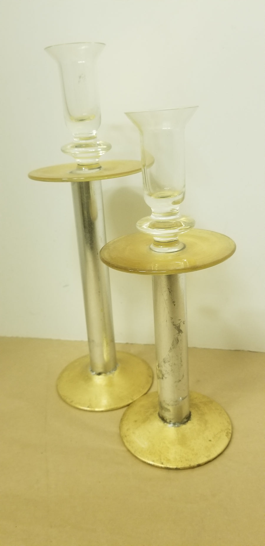 Glass candlesticks, painted, 2