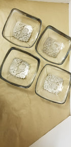 Silver overlay square bowls, Georges briard, MC