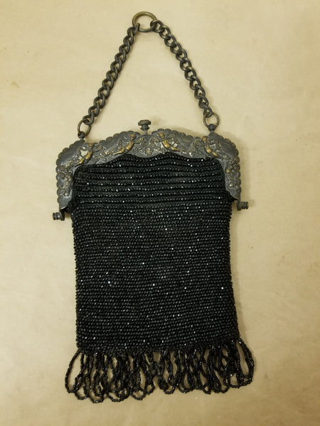 Antique beaded purse, calfskin inside