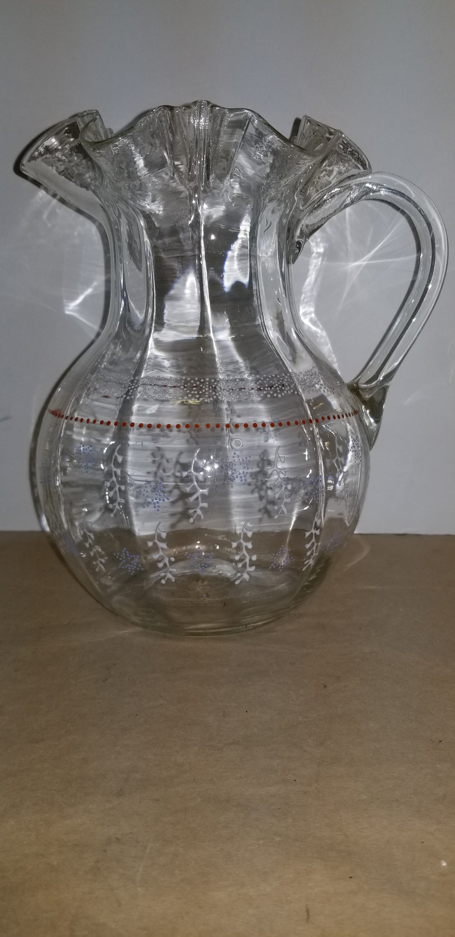 Victorian clear pitcher, hand painted, ruffle