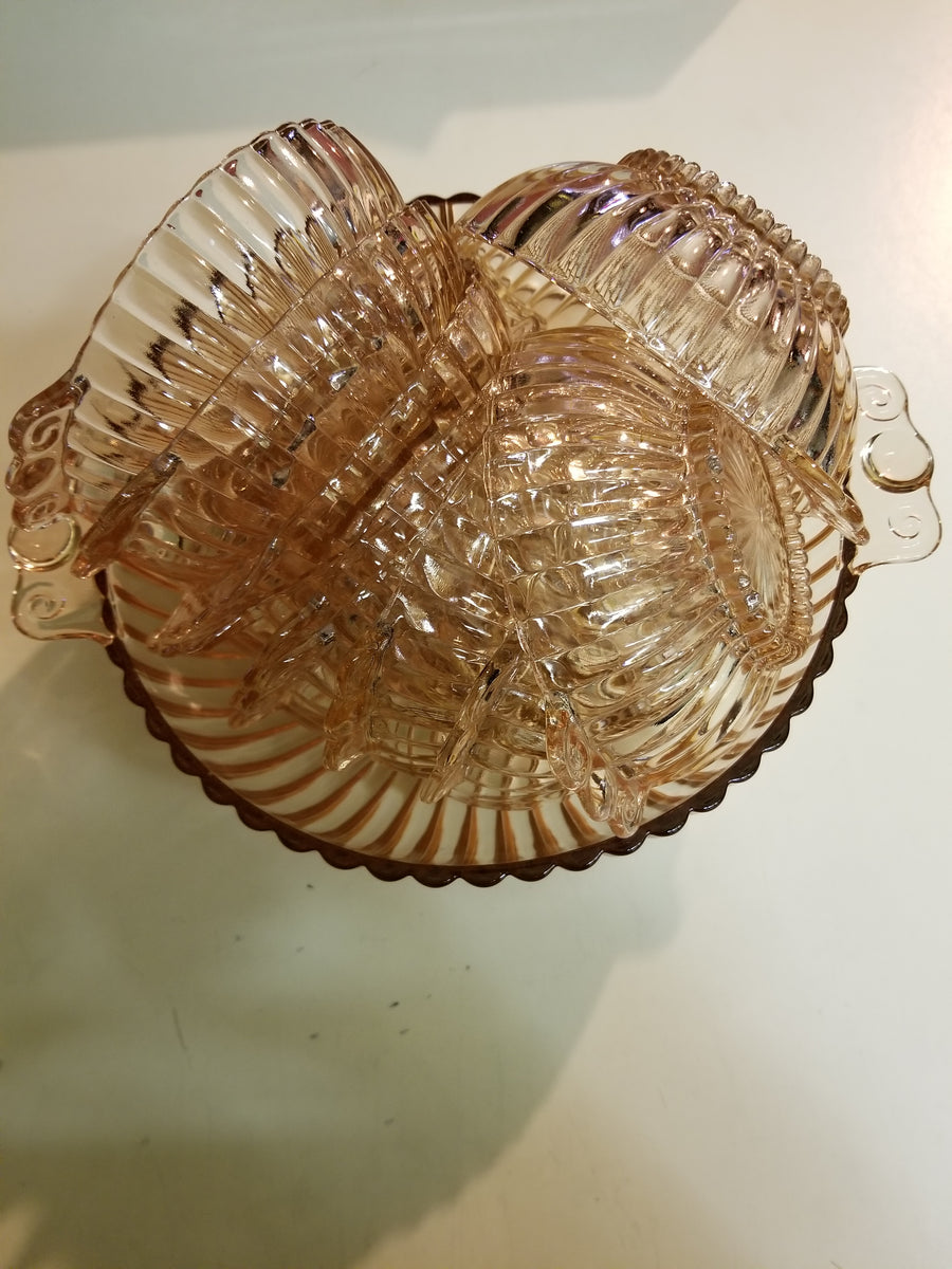 Service bowl, 11 fruit bowls, pink depression  glass