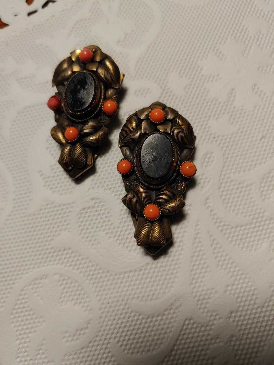 Onyx and coral dress clips, gold tone