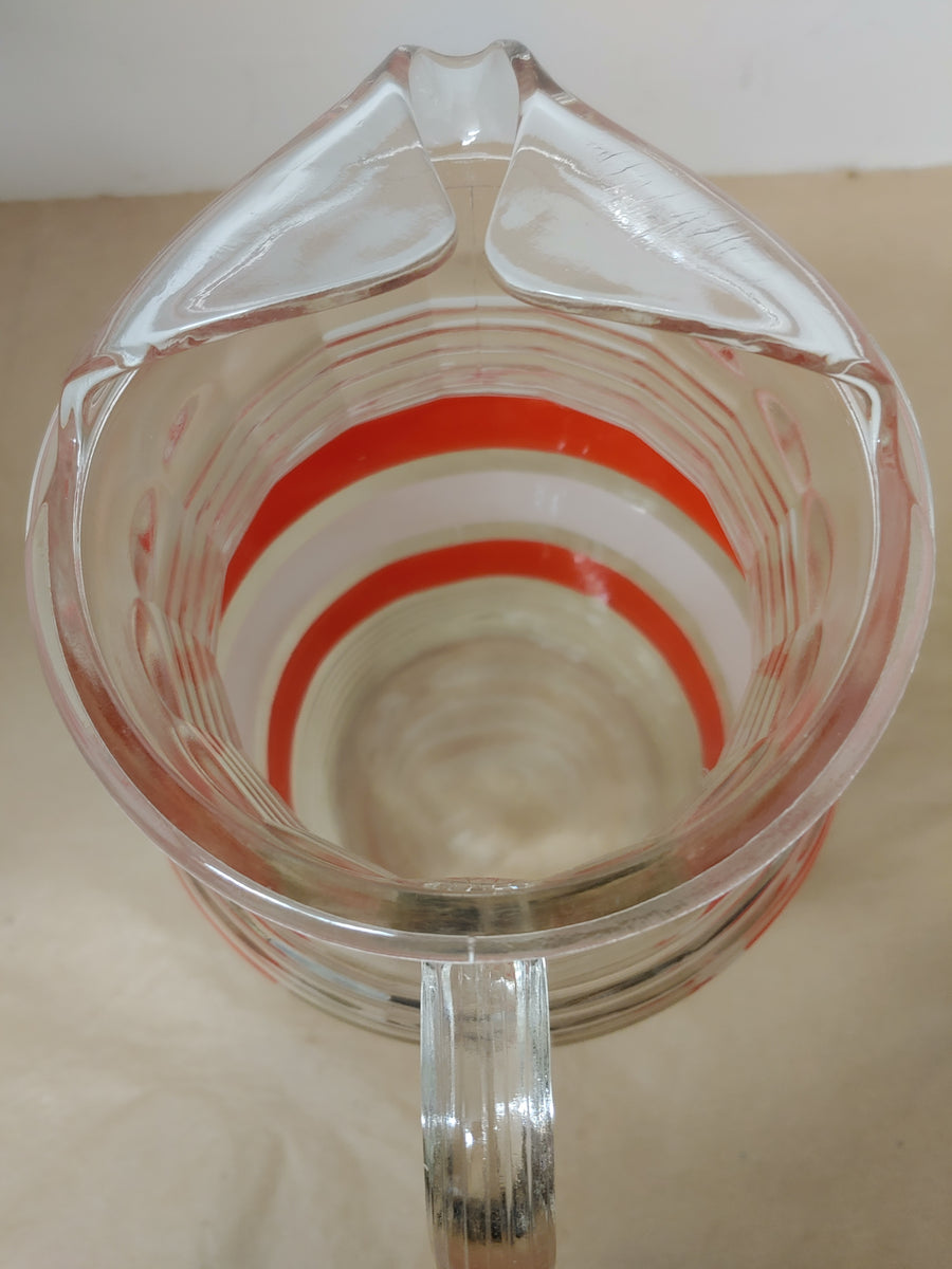 Clear and red stripe lemonade pitcher, vintage
