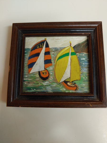 Oil painting. Boats