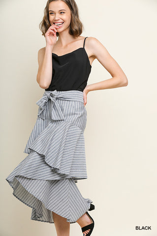 Umgee Striped high-waisted ruffle tiered midi skirt