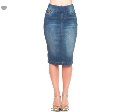 Denim pencil skirt with elastic waistband