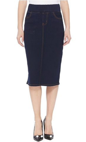 Denim pencil skirt with elastic waistband Dk. Indigo