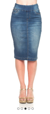 Pre-order denim Pencil skirt with elastic waistband Vintage Wash