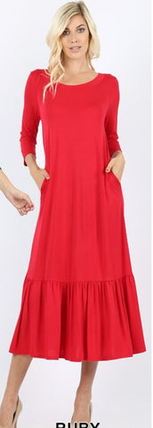 Plus Viscose  3/4 sleeve round neck ruffle hem long dress with side pockets