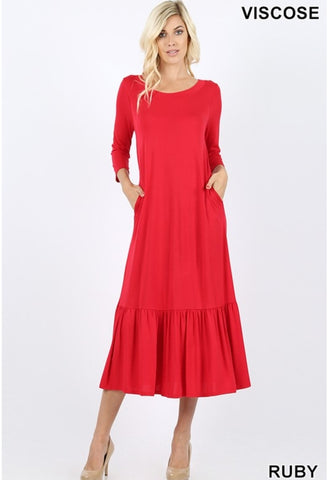 Viscose  3/4 sleeve round neck ruffle hem long dress with side pockets