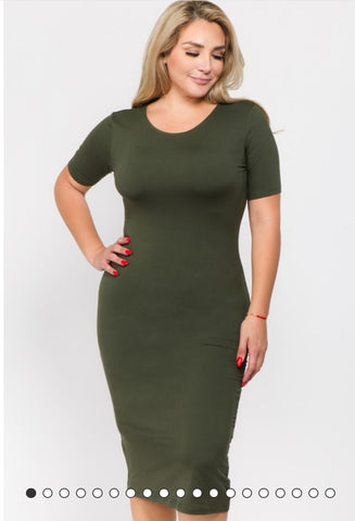 short sleeve crew neck midi bodycon layering dress