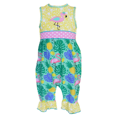 AnnLoren - Baby Girls Tropical Flamingo Baby Romper *REDUCED*