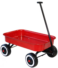 Red kids wagon toy with wheels