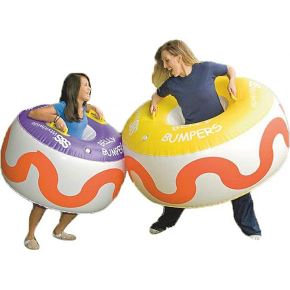 girl and woman bumping with Inflatable rings