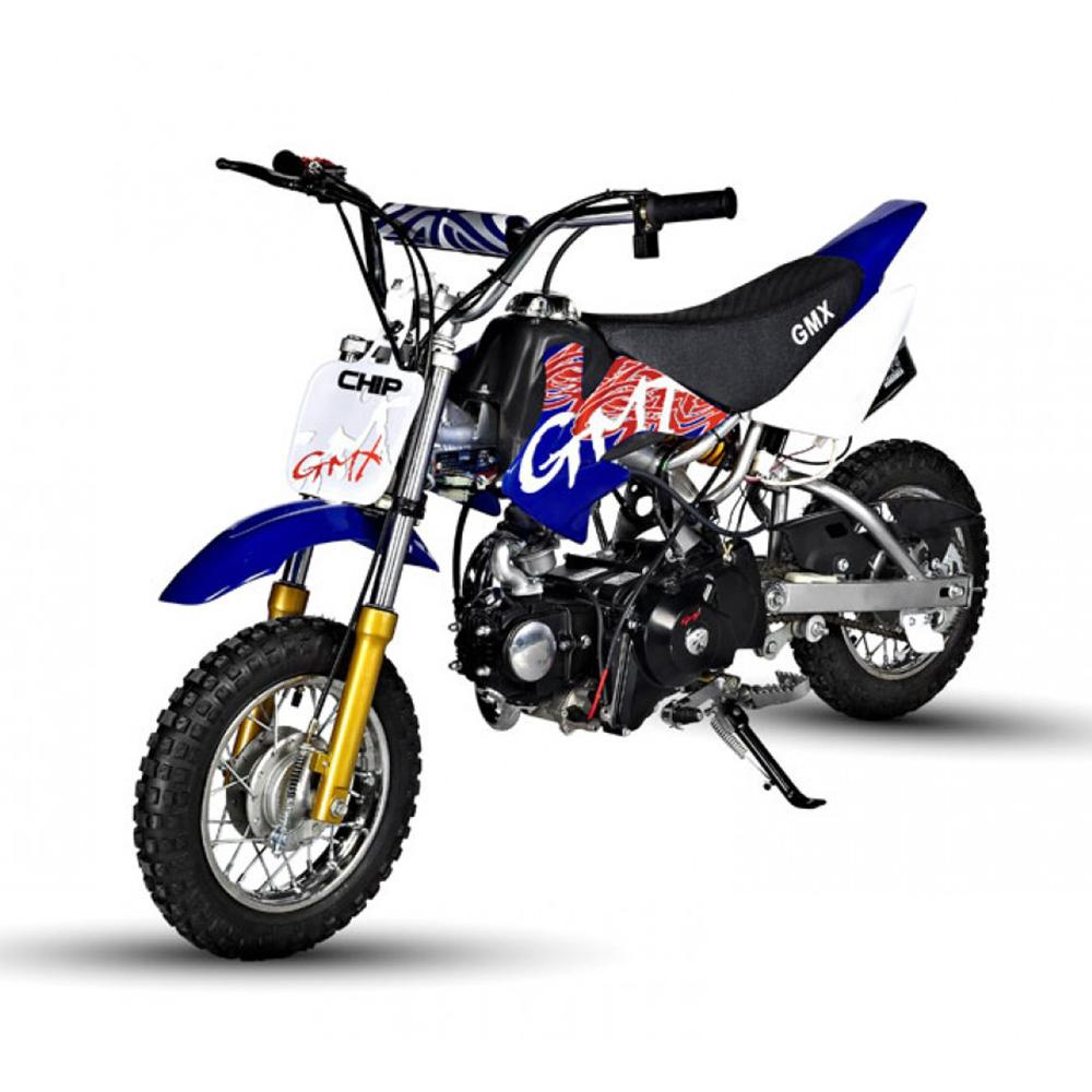 Blue kids ride on dirt bike