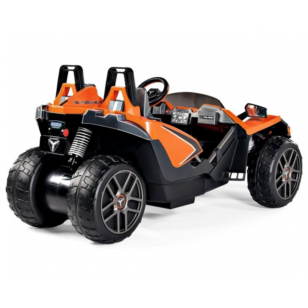 back of the orange peg perego slingshot kid ride on car