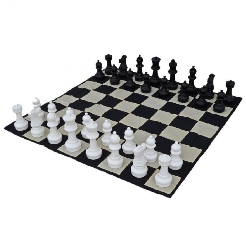 giant black and white chess set and board