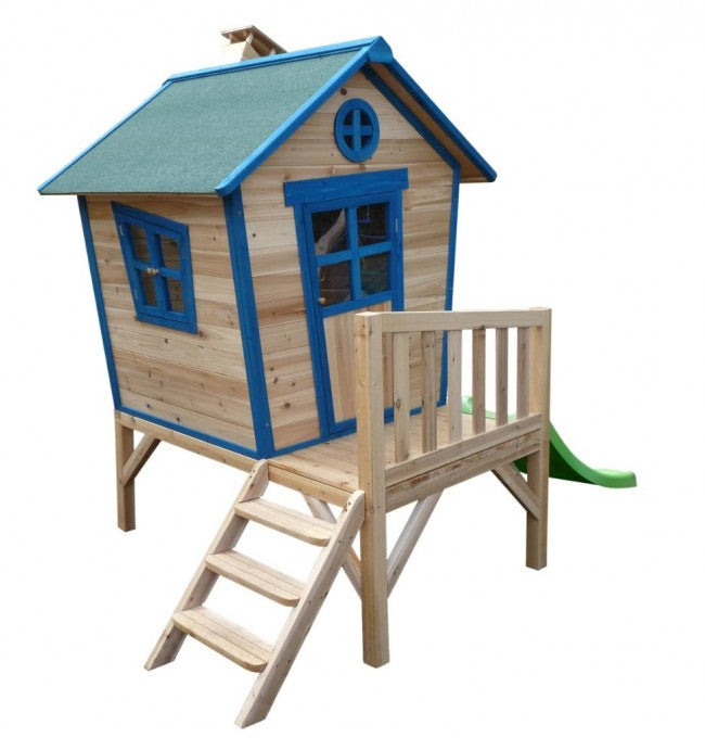 wooden cubby house with steps and blue roof