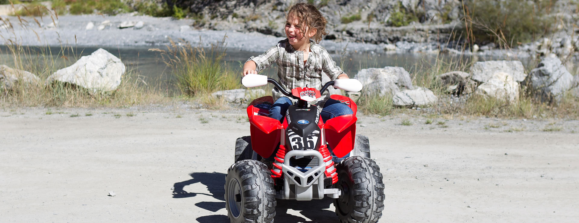 Peg Perego Polaris Outlaw 12v Kids Ride-On Quad Bike Red